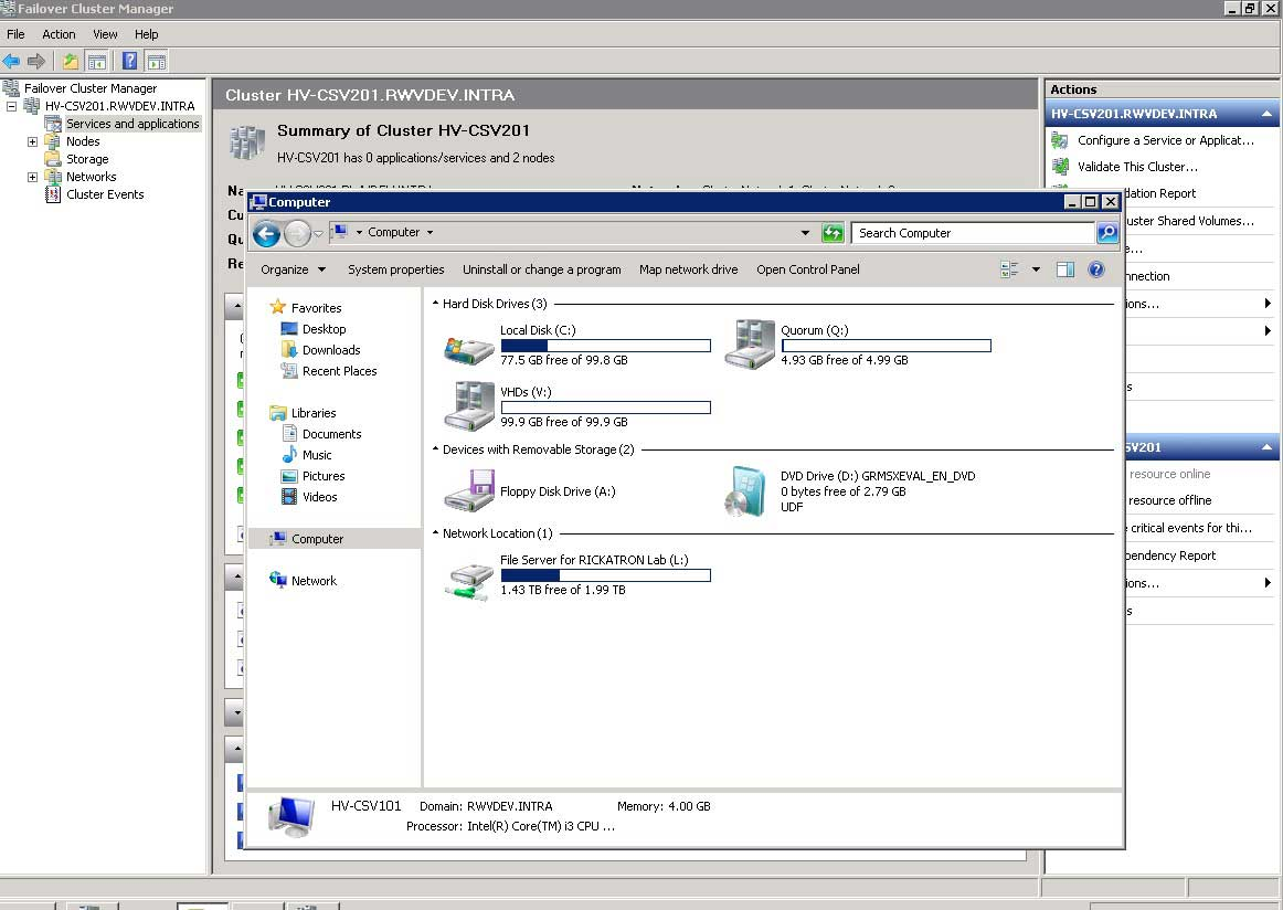 The quorum drive and VHD drive are now displayed on the clustered host.