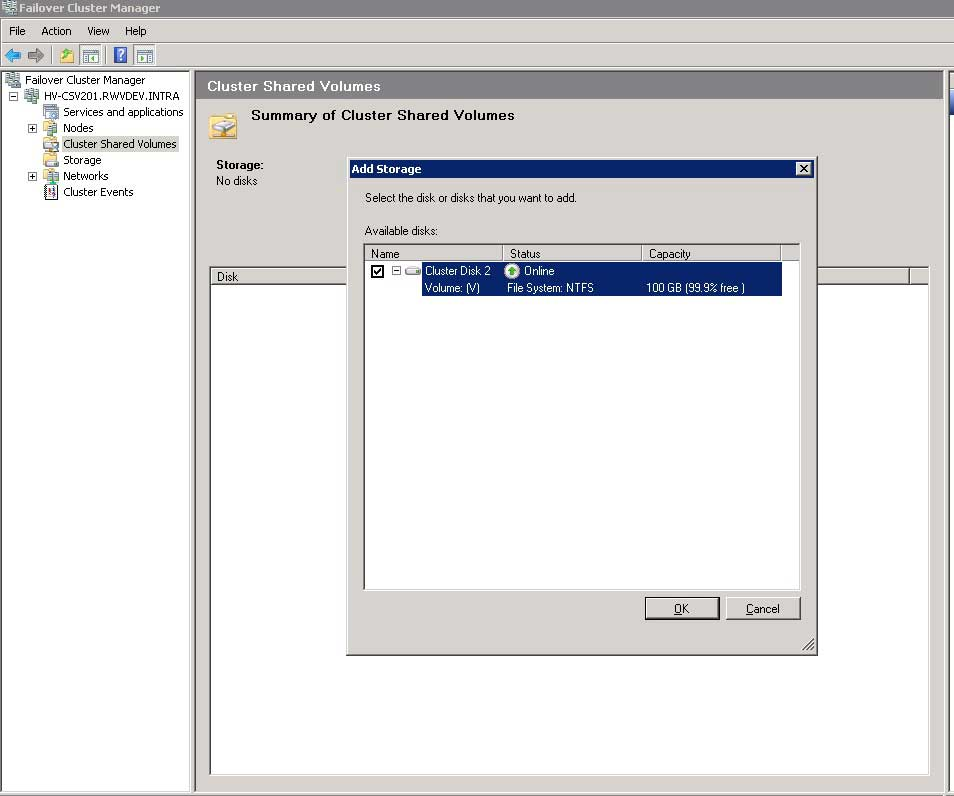 Selecting the VHDs drive example here will make it the CSV volume.