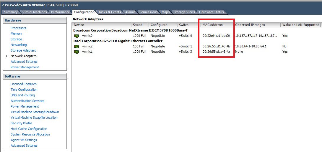 The MAC addresses of the host interfaces, shown in the vSphere Client.