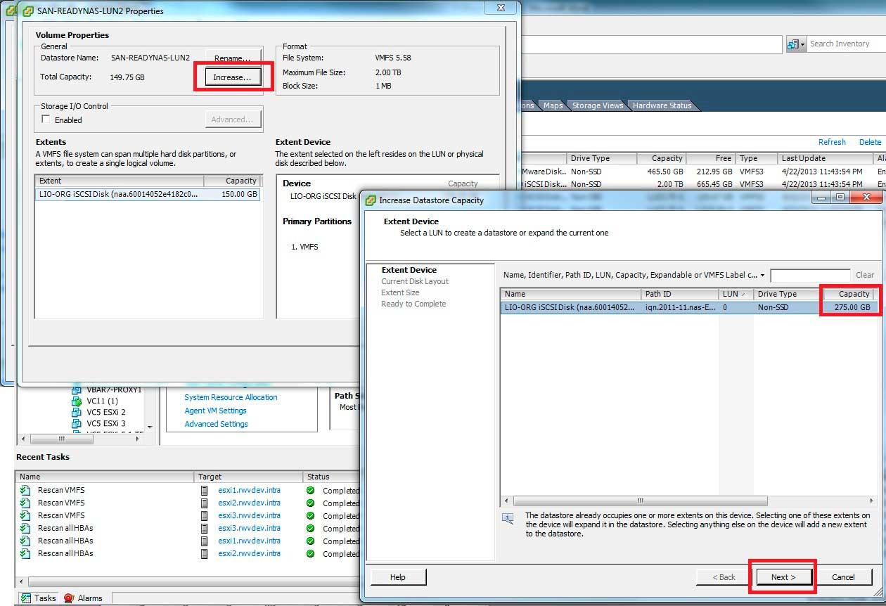 The expanded space is detected by the vSphere host.