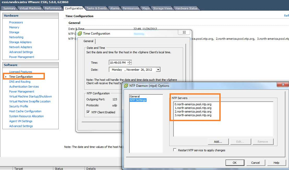 The NTP authoritative time server list is configured in the vSphere Client