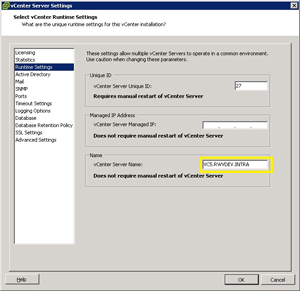 The vCenter Server Name specified in this dialog