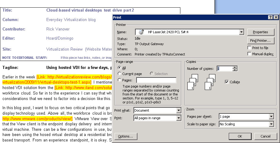 Printing sample from a clouded VDI