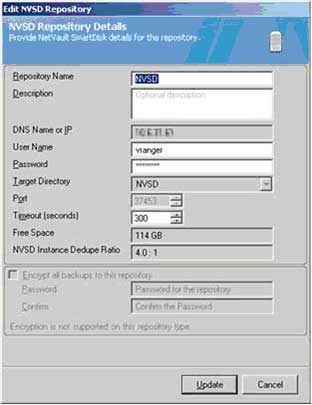 Use the Add NVSD repository dialog to provide critical details for the new repository within vRanger.