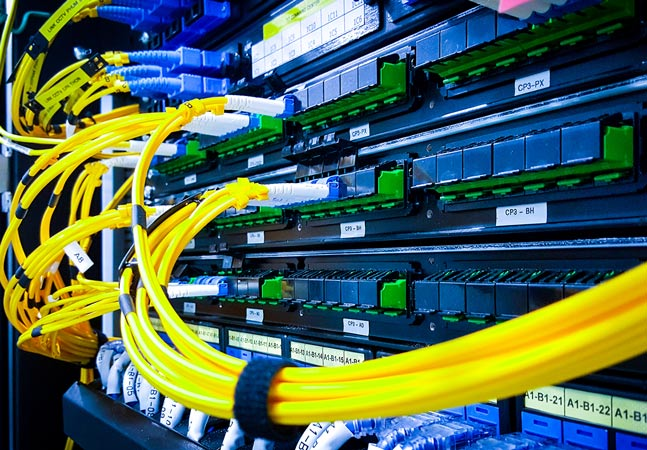 Blue and Yellow Server Wires Graphic