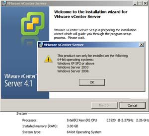 Error! Error! Or so, thinks the VMware install