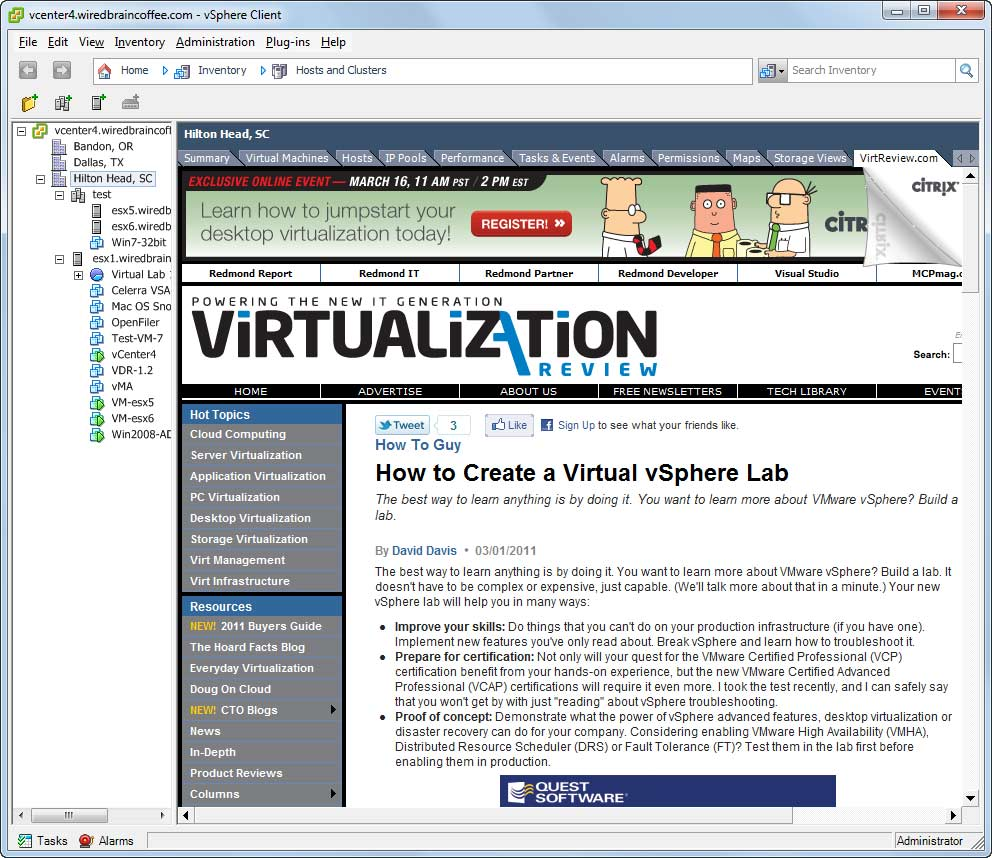 I'm checking out my latest in a vSphere client browsing session now.