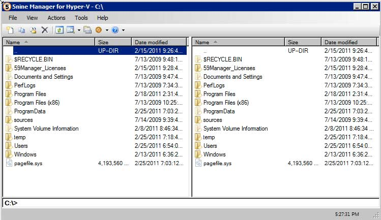 The file explorer/manager is the only way to locally manage files using a GUI on Windows Core or Free Hyper-V.