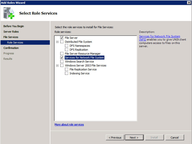 Services for NFS is easily enabled inside Windows Server.