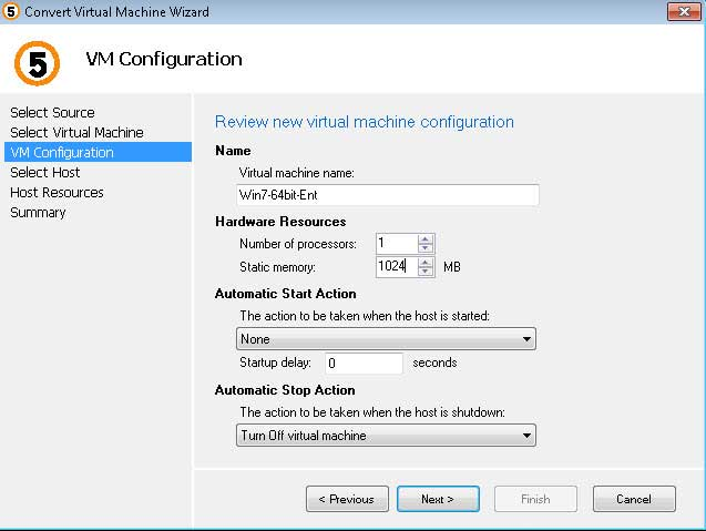Configuration setting for converted VMs can be finalized before setting them free.