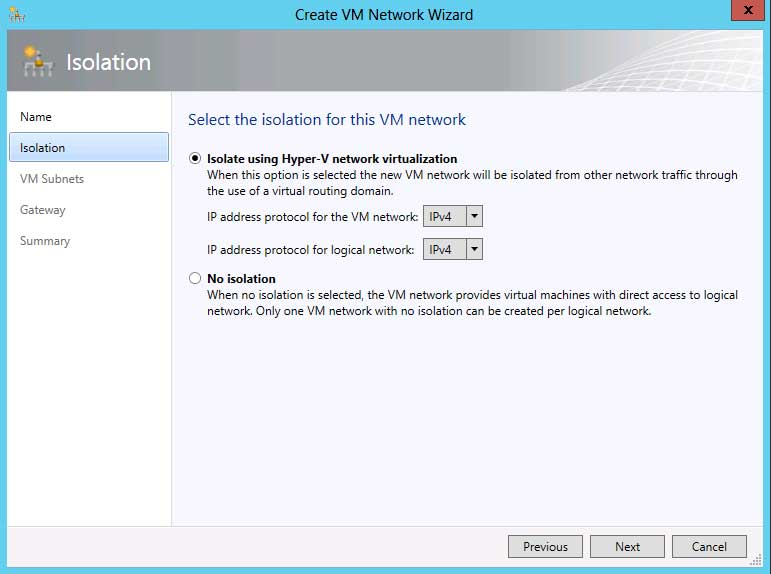 Creating VM Networks is a whole lot easier using the GUI in SCVMM 2012 SP1