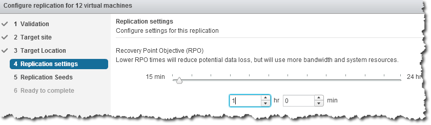 Set the Recovery Point Objective to replicate data at specific intervals you determine.