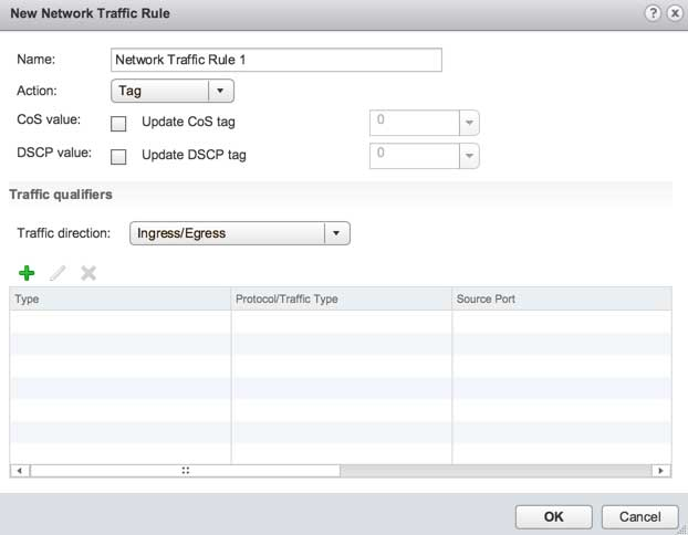 Creating a Network QoS Traffic Rule in the vSphere Web Client.