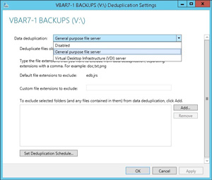 The deduplication role can do both general purpose files and virtual machines in Windows Server 2012 R2.