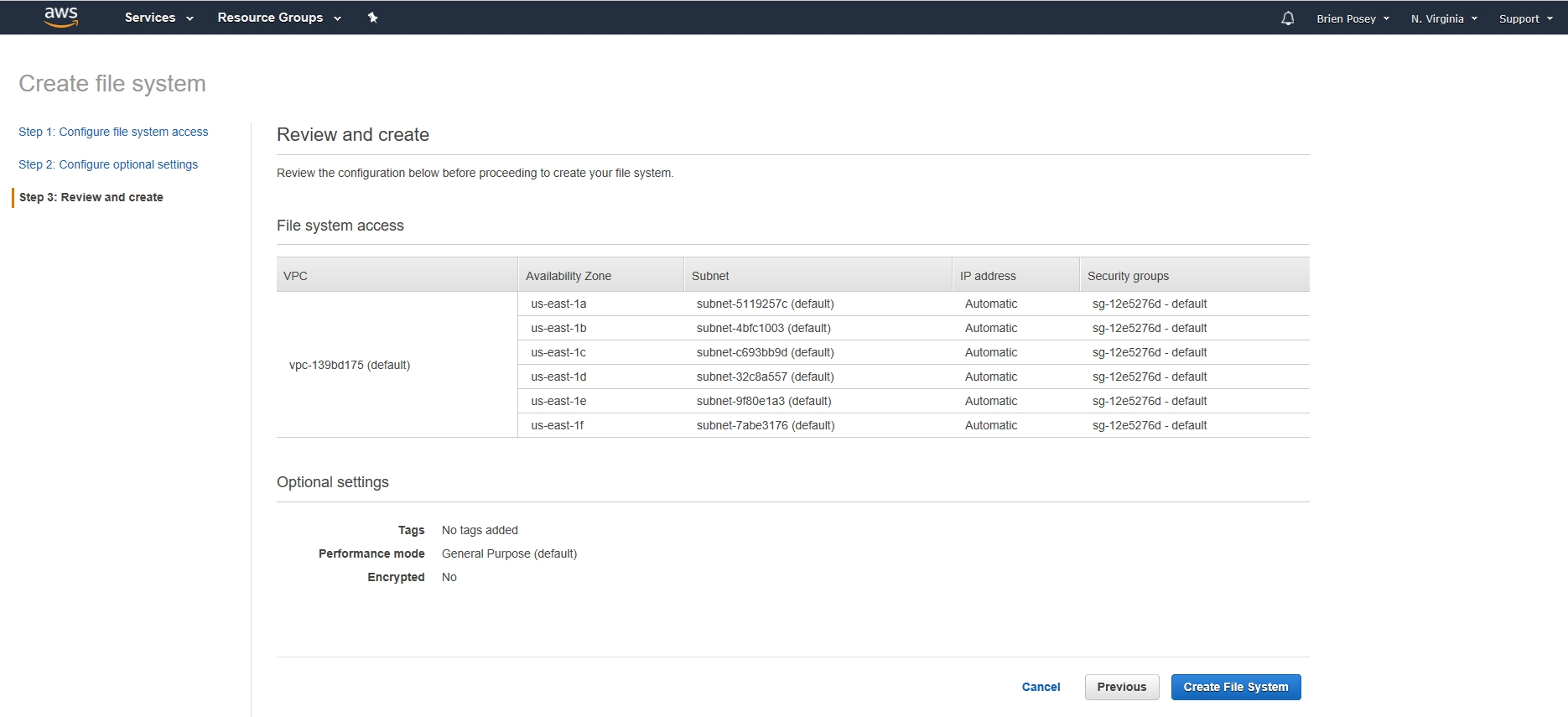 How To Create Amazon Elastic File Systems in AWS
