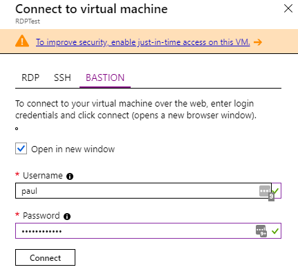 Figure 2: Connecting to a VM using Bastion instead of SSH or RDP