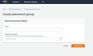 Figure 1: Creating a placement group requires you to enter a group name and to choose a placement strategy.