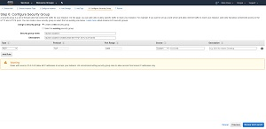 Figure 1: When you create a new EC2 instance, AWS will create a new security group by default.