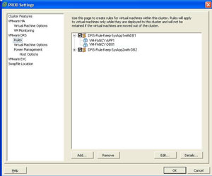 Configuring DRS rules as part of the cluster settings via this dialog.
