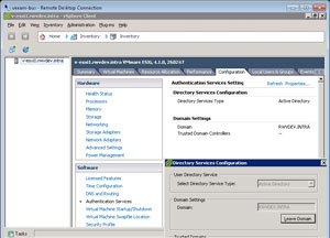 Configuring Authentication Services on an ESXi host.