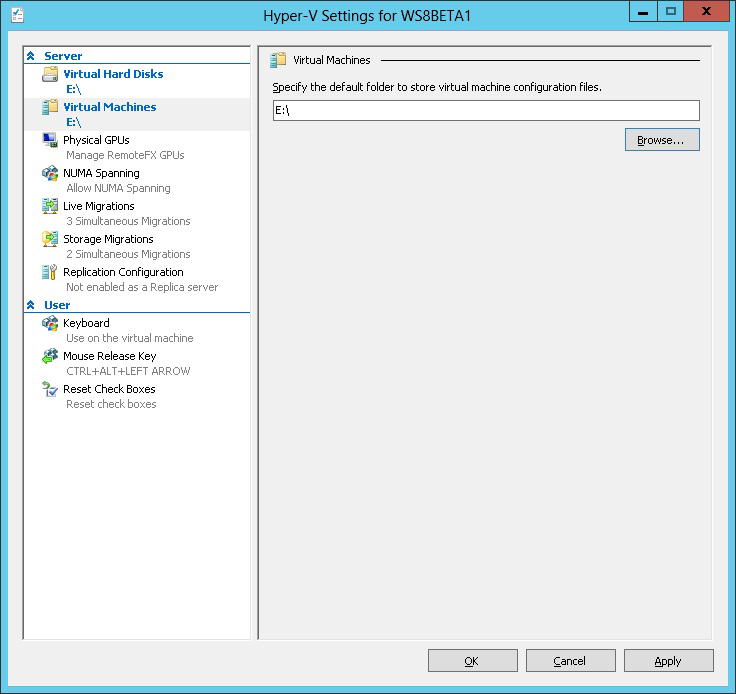 Ensure  VMs don't fill up the C drive on the Hyper-V host