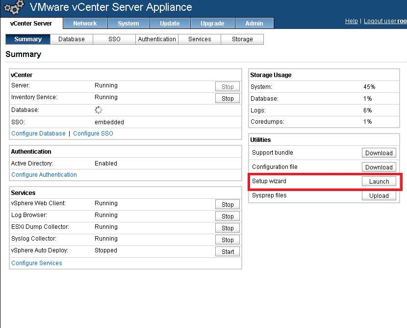 The setup wizard will configure the vCenter Server application on the appliance.
