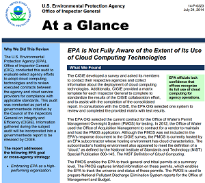 Report on EPA cloud usage.