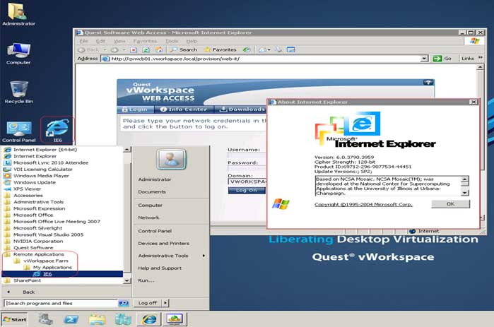 Here, IE 6 is deployed by vWorkspace and integrated with the Windows 7 desktop; it's done directly from the Start Menu.