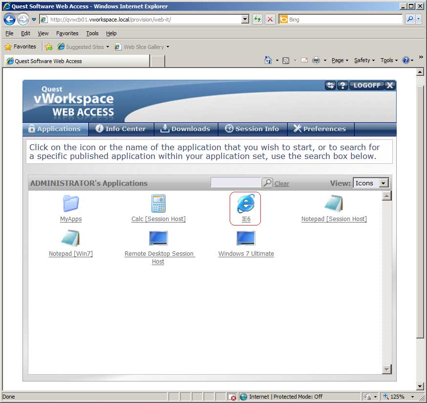 IE 6 running in IE 8 via vWorkSpace Web Access.